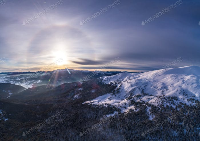 Mystical halo view at the ski slopes of mountain
