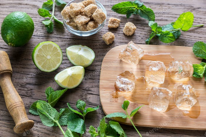Ingredients for mojito on the wooden background