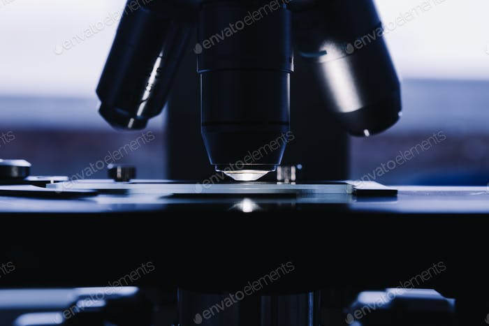 Modern microscope in the laboratory.