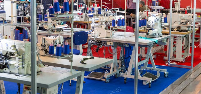 Sewing factory, nobody, overlock machines