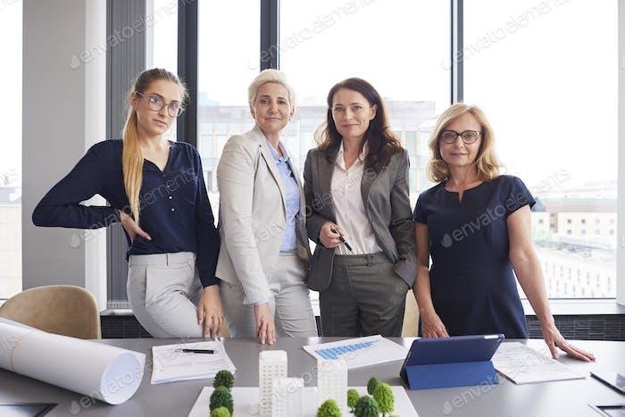 Portrait of four businesswomen in the office