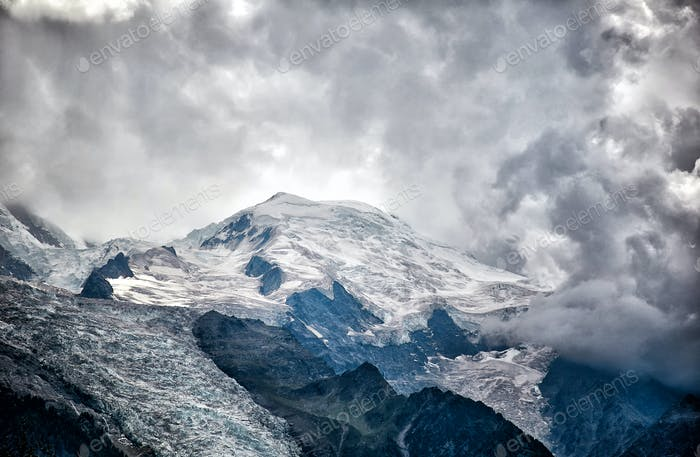 Dramatic view of Mont Blanc mountain, French Alps