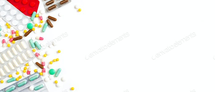 Banner with Various Pills on the White Background