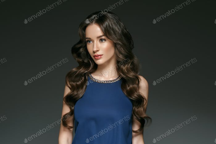Beautiful woman with long hair, shine and curly, beauty girl