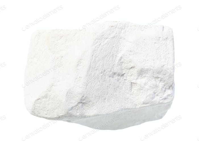 unpolished chalk (white limestone) rock isolated