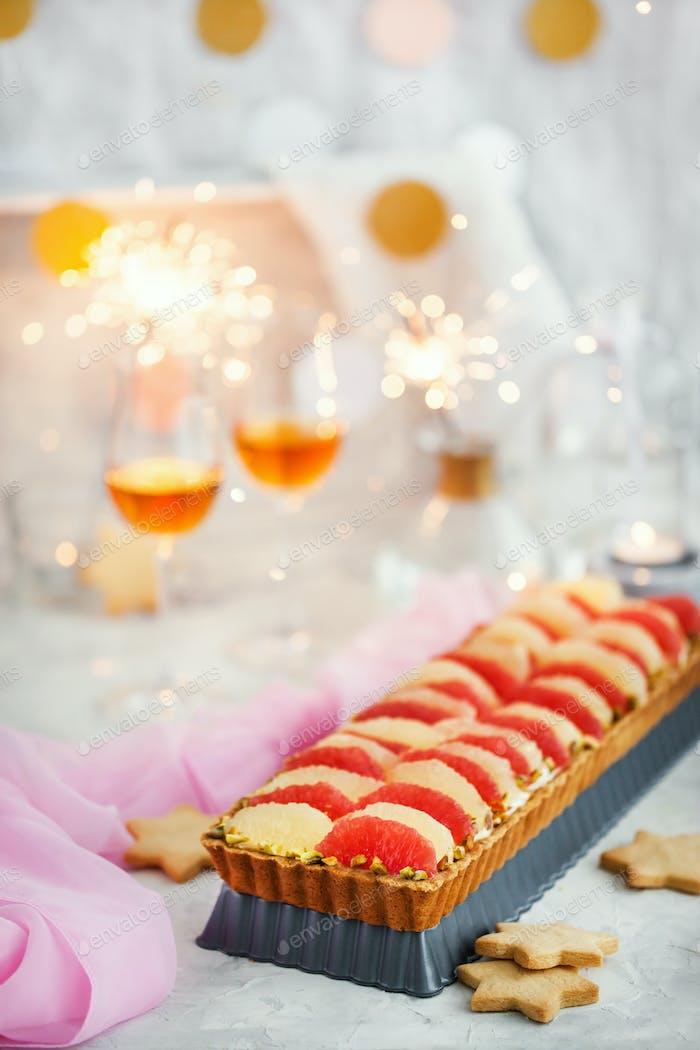 Delicious citrus mascarpone and pistachio tart