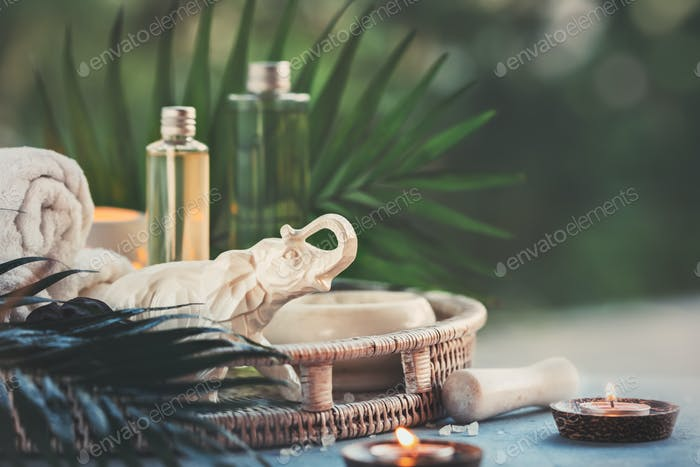 Spa resort and wellness composition with natural cosmetic