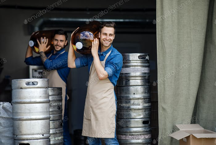 Working day in warehouse and brewery employees