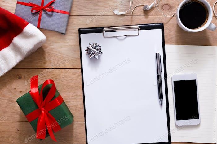 Fondo de planificación navideña. Prepárese para las Vacaciones