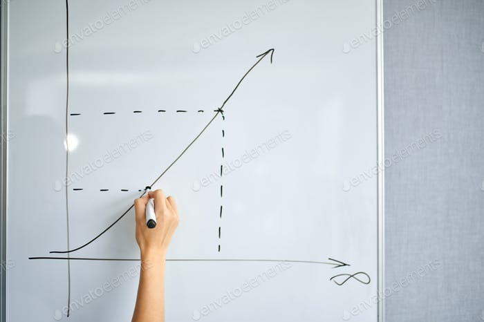 Female IT specialist draws a graph on the board