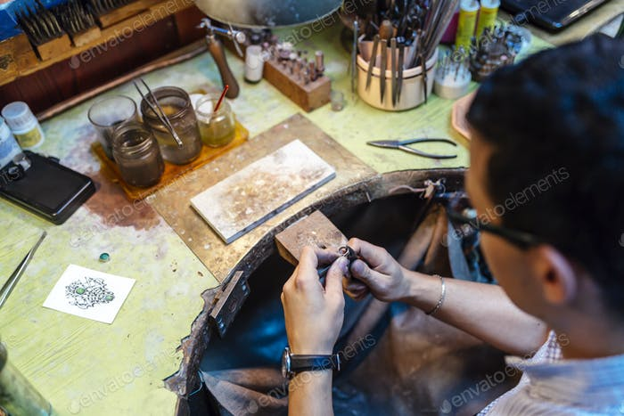 Jeweler working