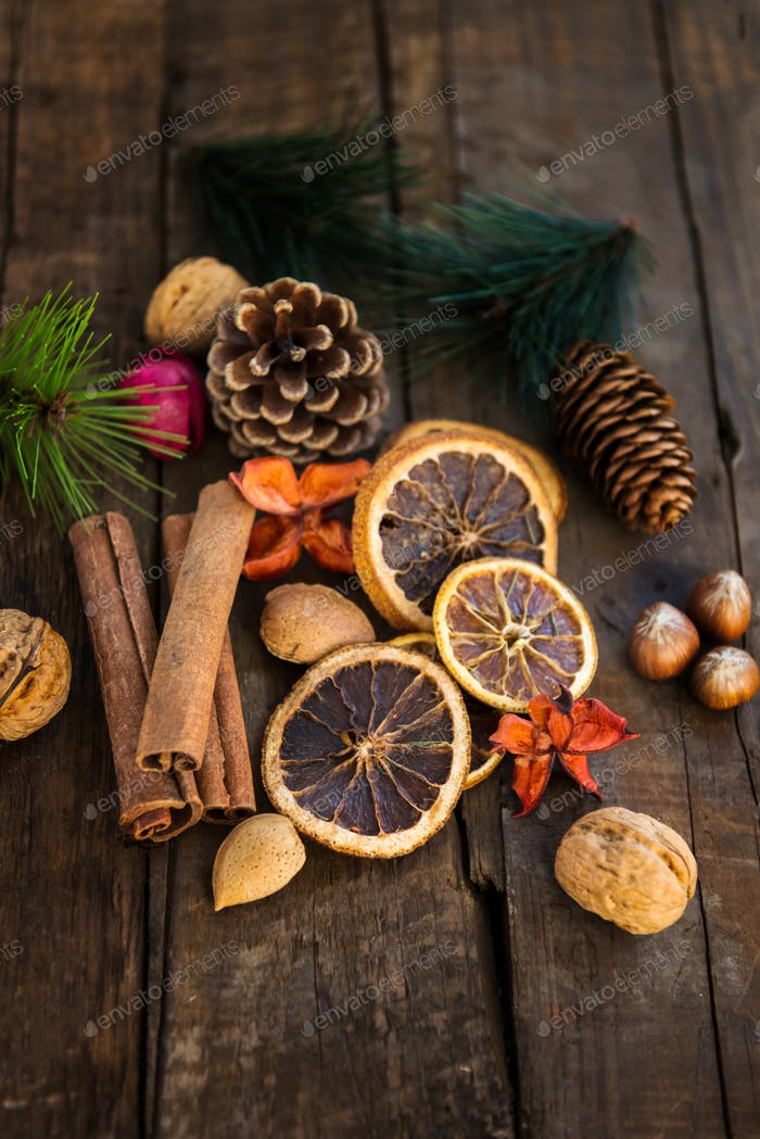 Xmas Symbols such as nuts, orange slices, tree branches, cranberries