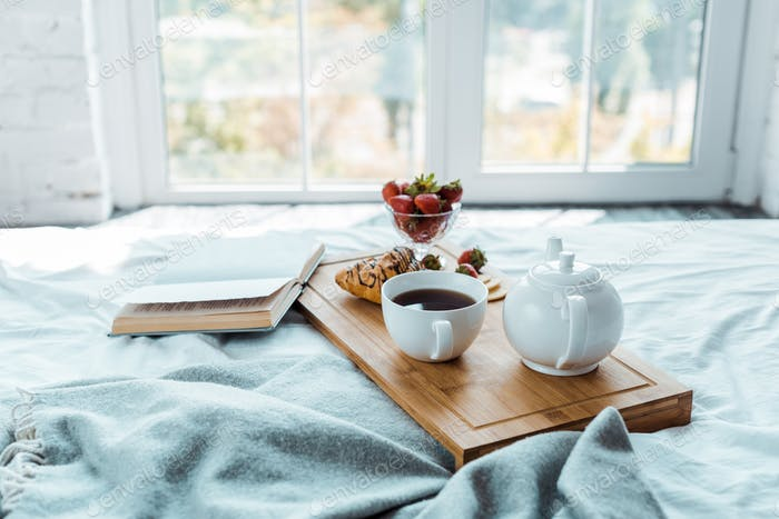 appetizing breakfast and open book on bed in bedroom
