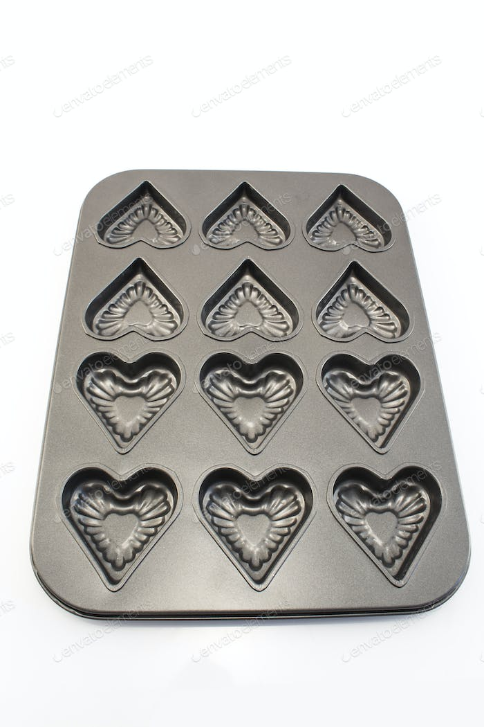 Baking Tray of Cookies in the Shape of Heart