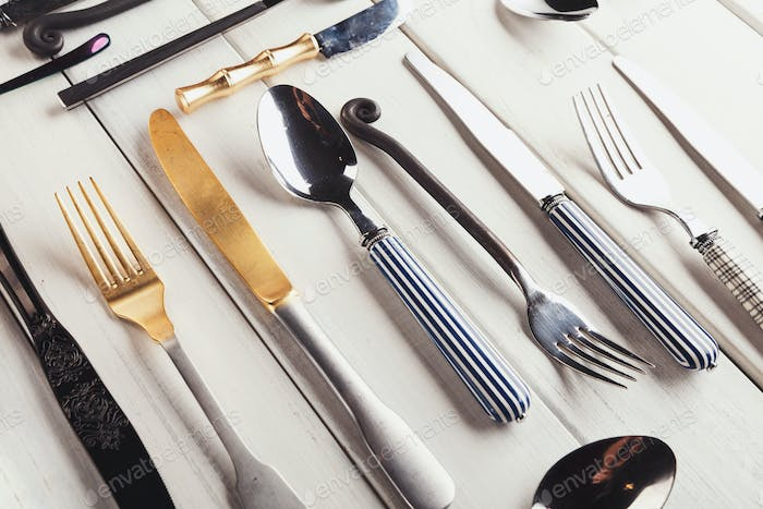 Collection of modern and antique cutlery