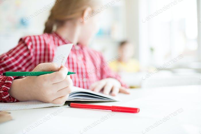 Copybook of schoolgirl