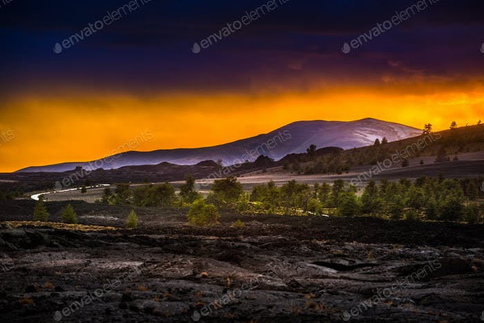 Volcanic Landscape after Sunset Craters of the Moon