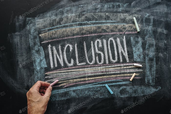 Teacher writing word Inclusion on school blackboard, inclusive e