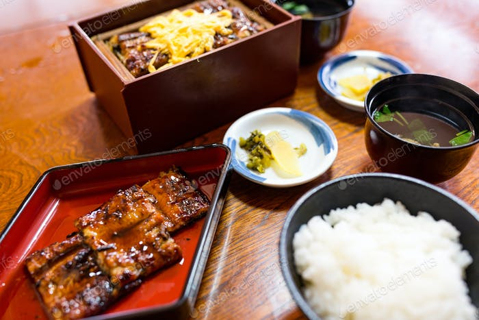Rice topped with broiled eel