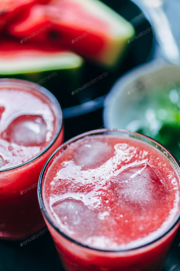 Two glasses ofred smoothie
