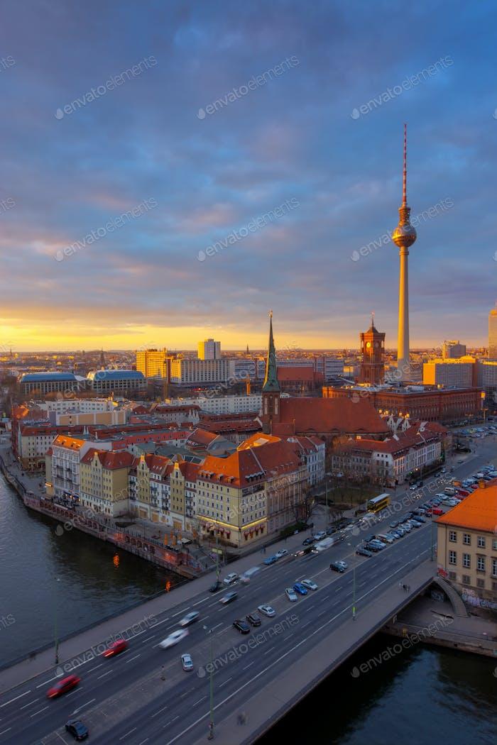Berlin Alexanderplatz at sunset