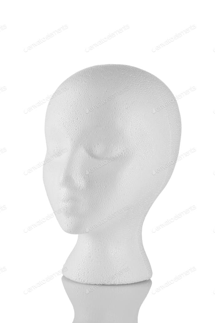 Styrofoam head 3/4 view isolated on white background