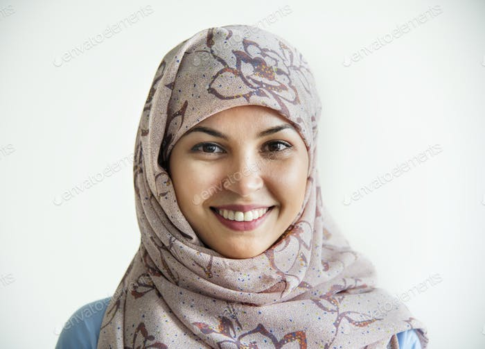 Portrait of islamic woman smiling
