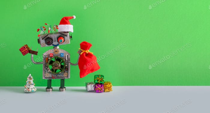 Santa Claus steampunk robotic toy with gifts bag on green background.