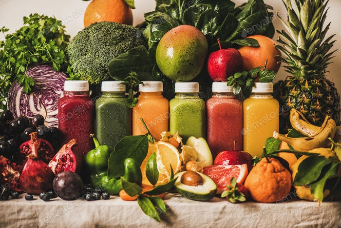 Assortment of fresh vegan smoothies or juices for diet