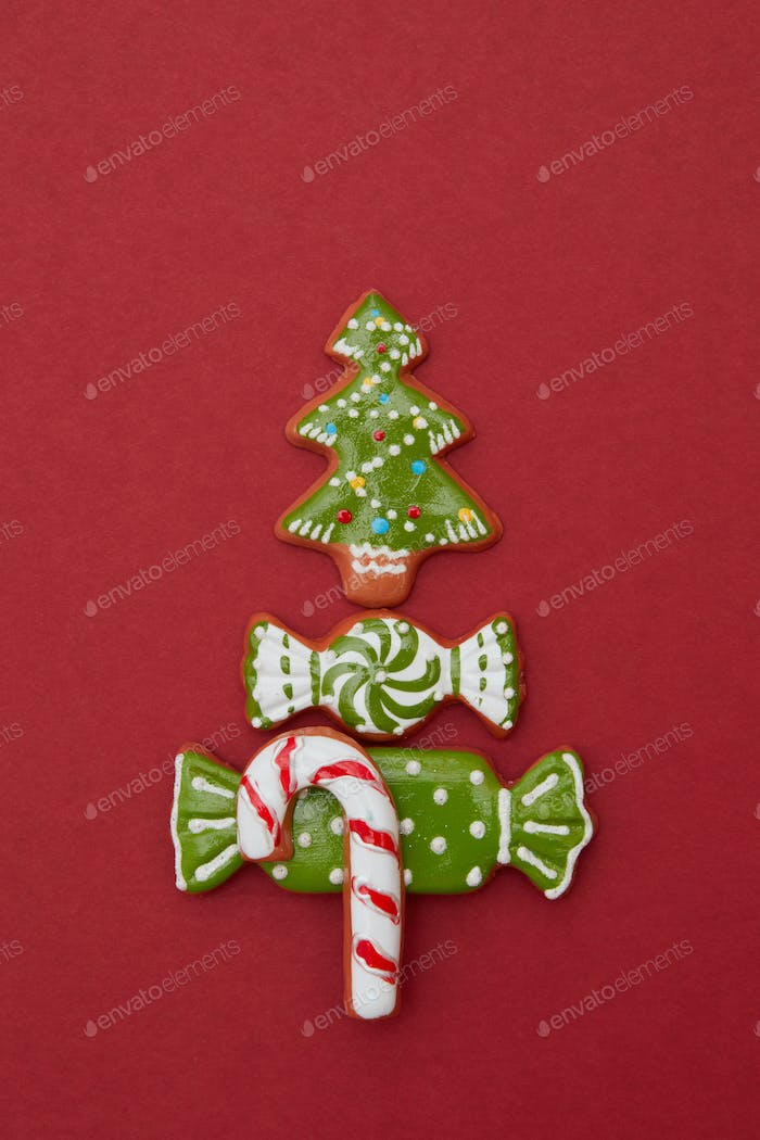 Christmas card with cookies tree