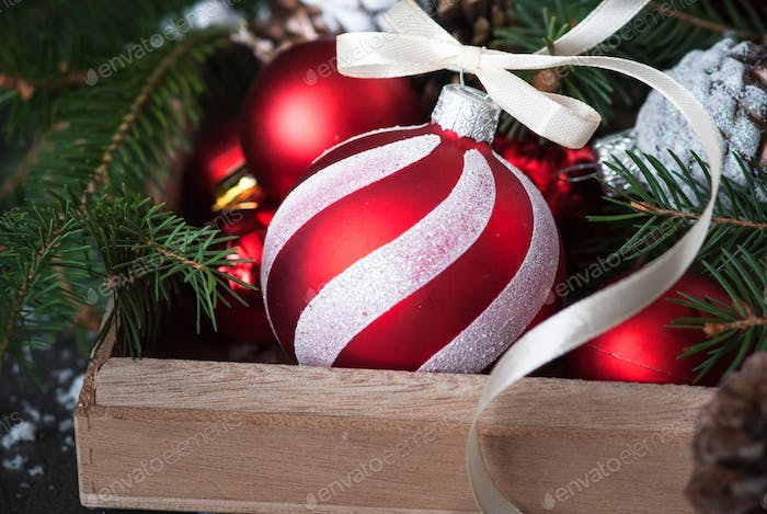 Christmas decorations red bauble in the box