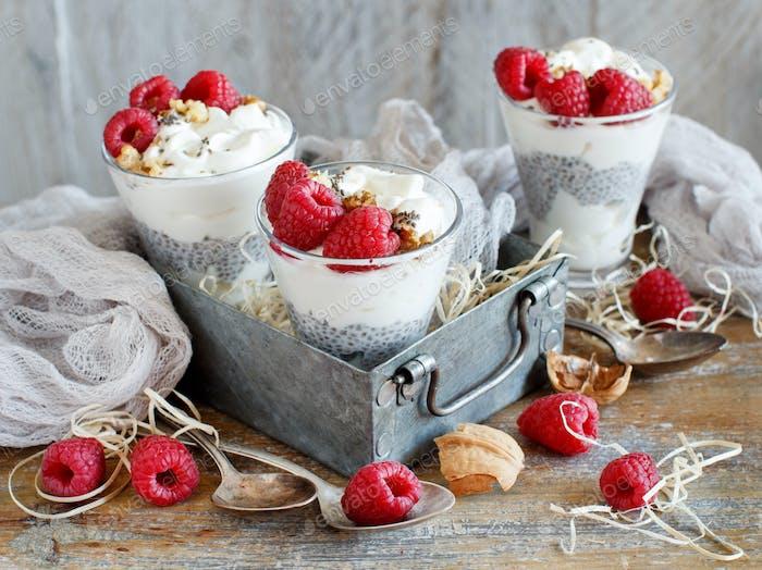 Himbeeren und Joghurt Chia Pudding Parfait