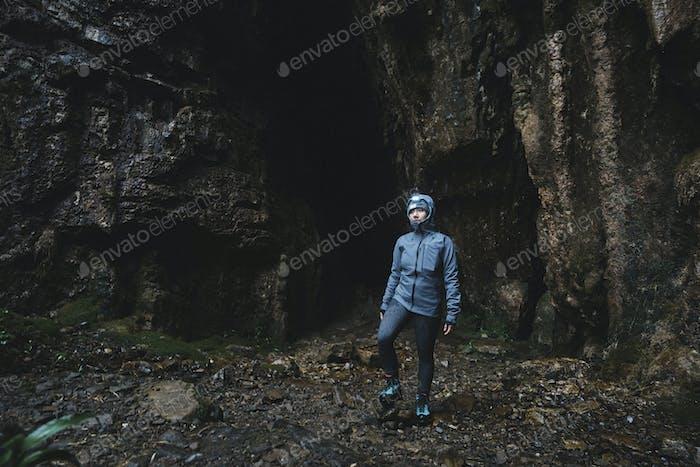 Traveler at Spar Cave