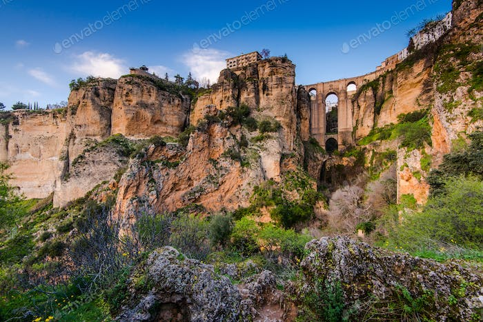 Twilight view on New Bridge in Ronda, Spain