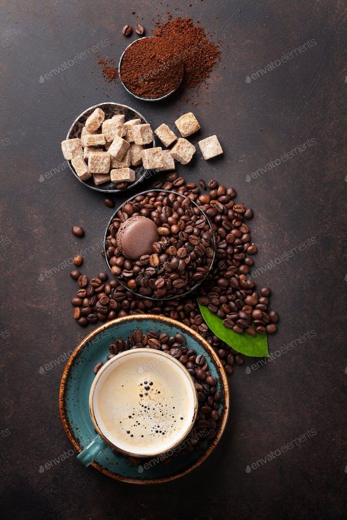 Coffee cup, beans, sugar