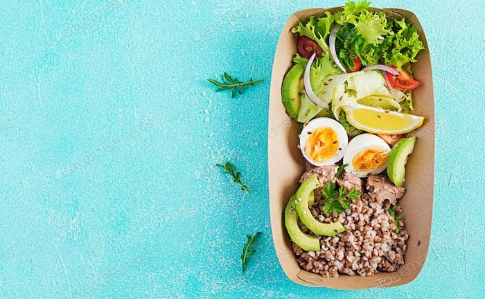 Healthy food delivery. Lunch- Buckwheat porridge,
