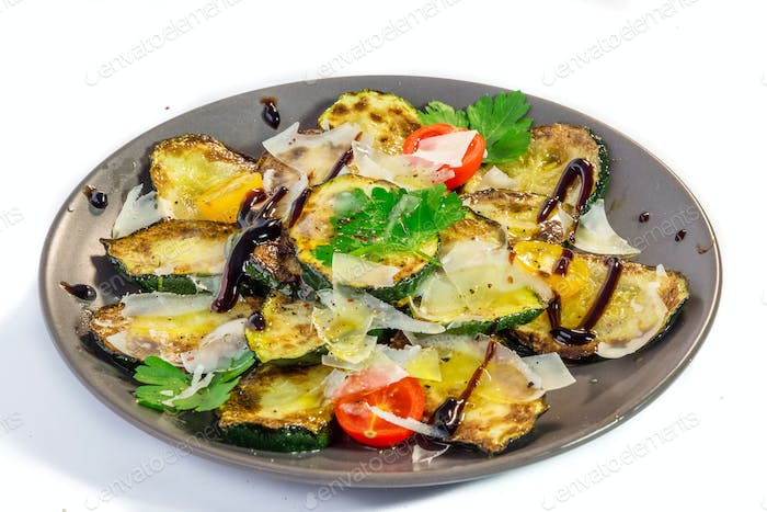 Grilled zucchini with olive oil, parmesan and balsamico