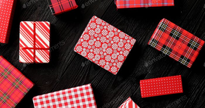 Gifts wrapped in festive paper