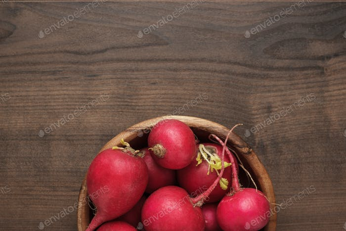 bowl of red radishes
