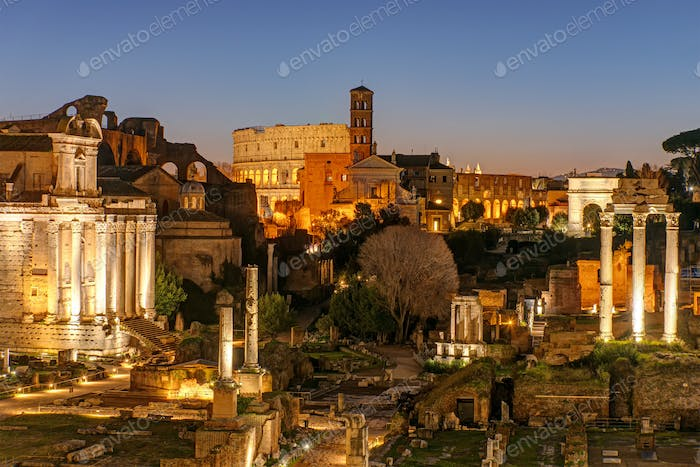 View over the ruins of the Roman Forum in Rome at dawn
