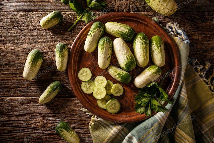 Top view fresh cucumber