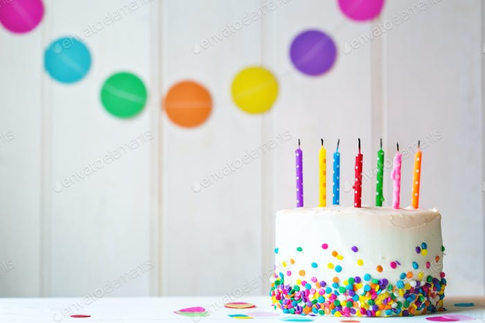 Birthday cake with extinguished candles