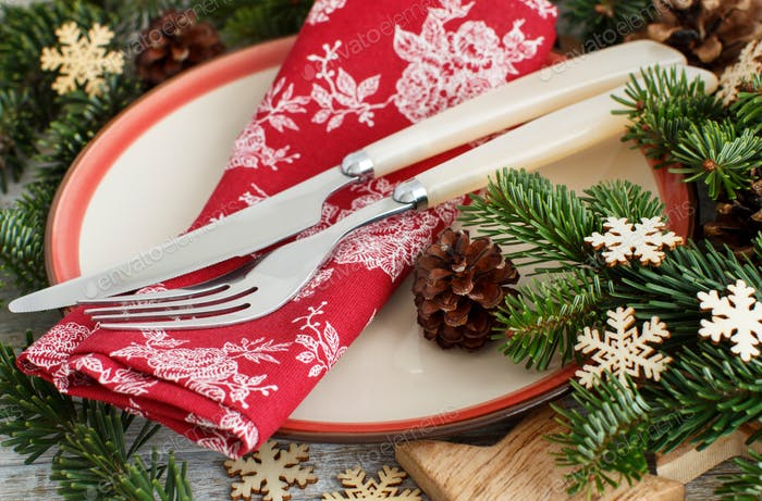 Rustic festive table setting