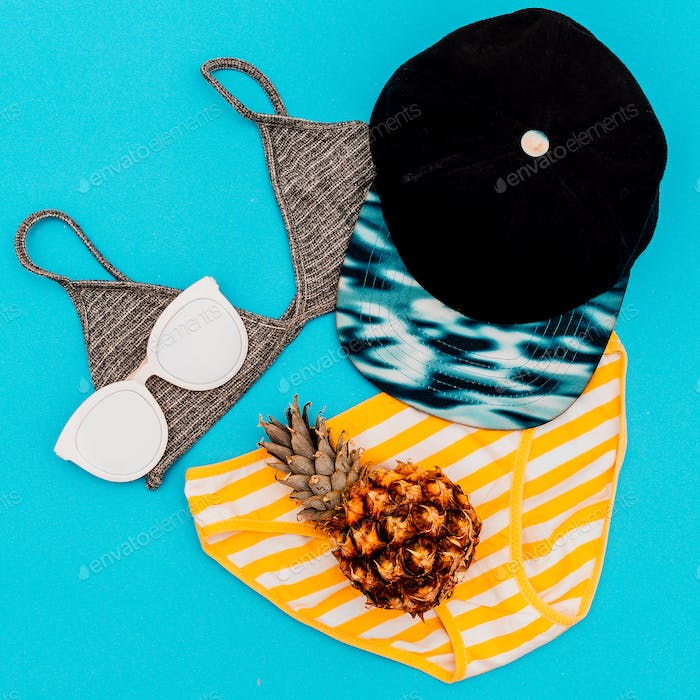 Beach Ladies outfit Beach accessories. Minimal design