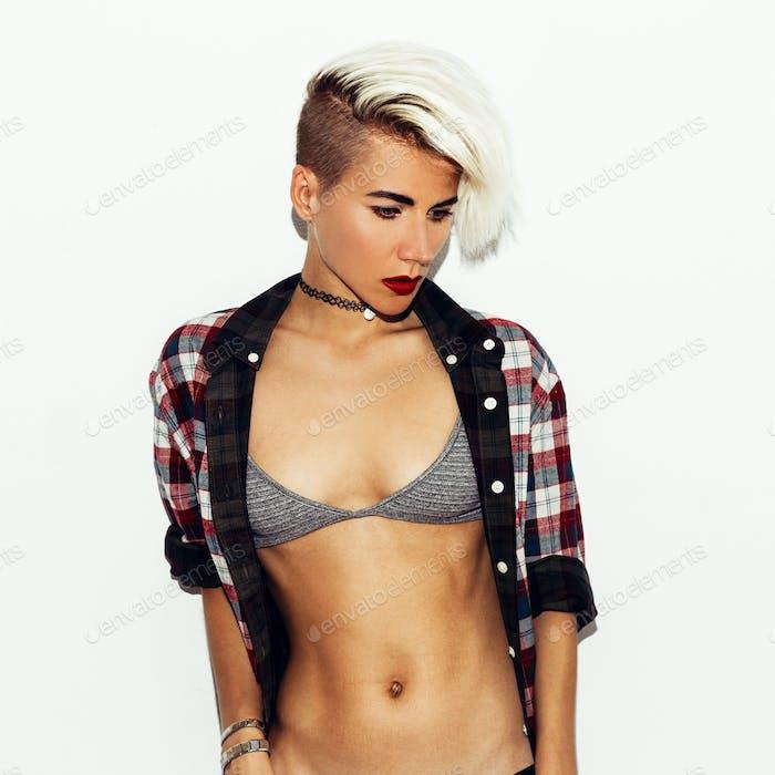 Sexy fashion style Model Blond.  Bra and checkered shirt. Sensua