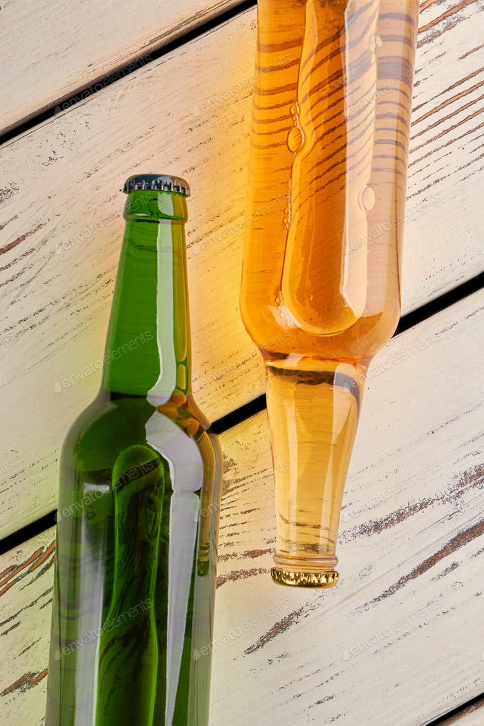 Bottles with beer close up