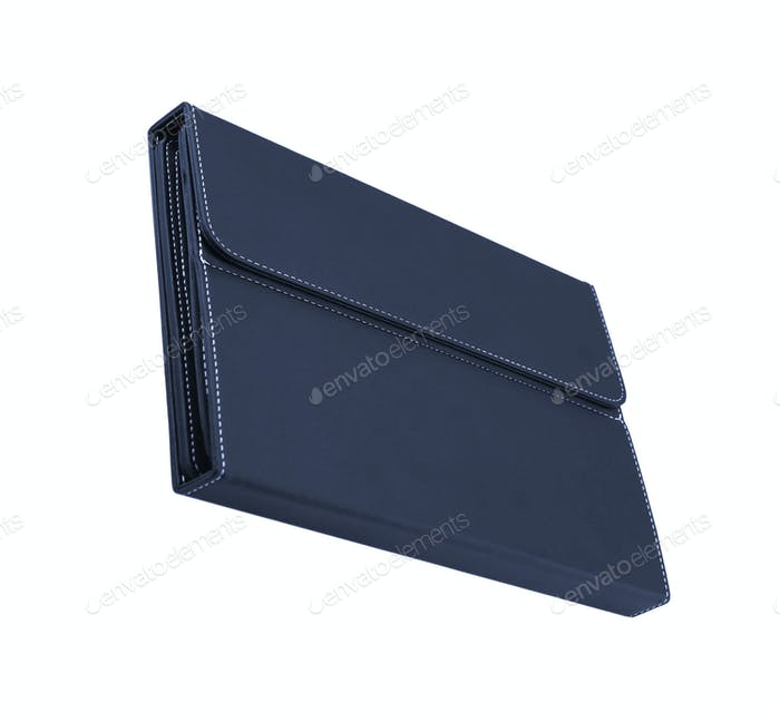 blue leather folio case for tablet isolated on white