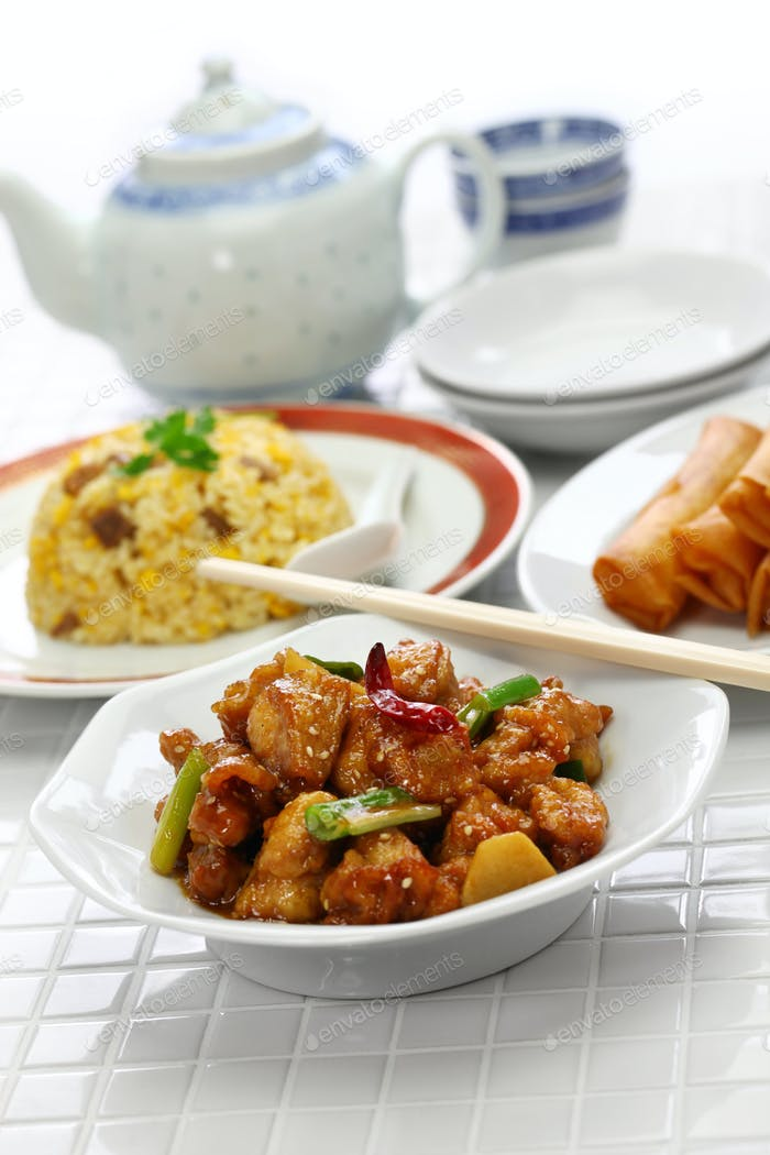 general tso's chicken, fried rice, spring rolls, american chinese cuisine