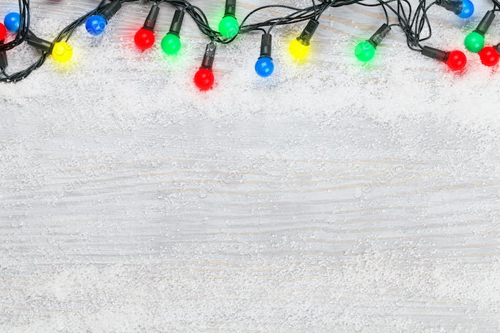 Christmas card with colorful lights