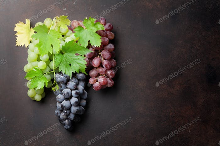 Various colorful grapes